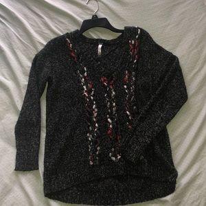 Gray Macy's V-neck sweater